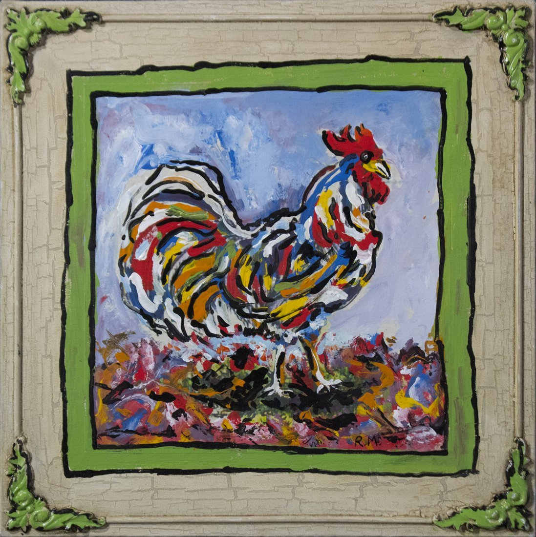 MONTI - Mid Century Modern BARNYARD ROOSTER ABSTRACT