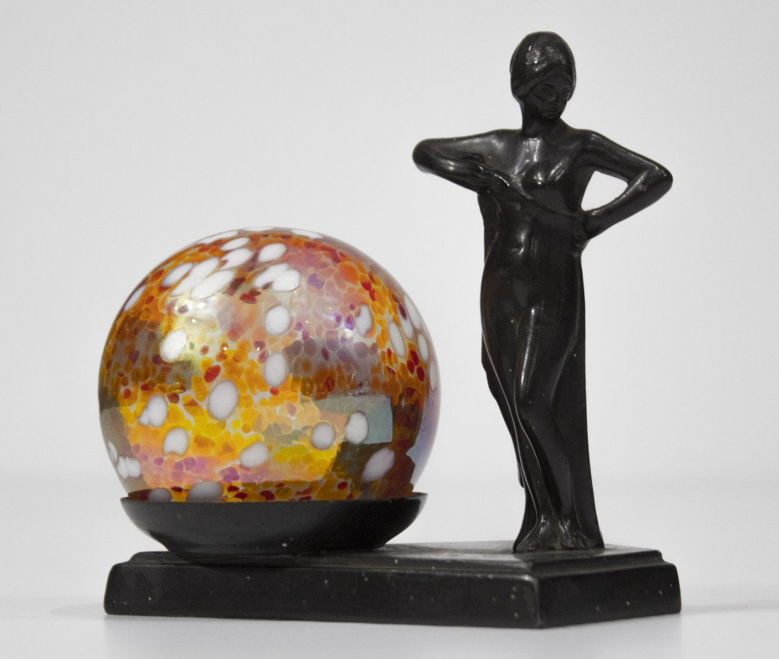ART DECO METAL NUDE GIRL NEXT TO ART GLASS BALL