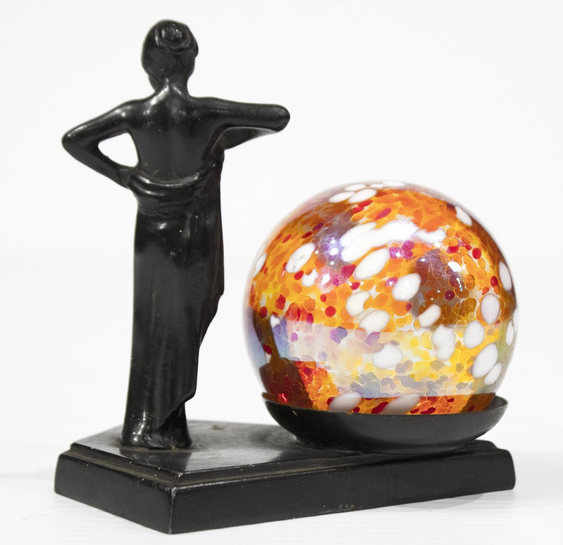 ART DECO METAL NUDE GIRL NEXT TO ART GLASS BALL - 2