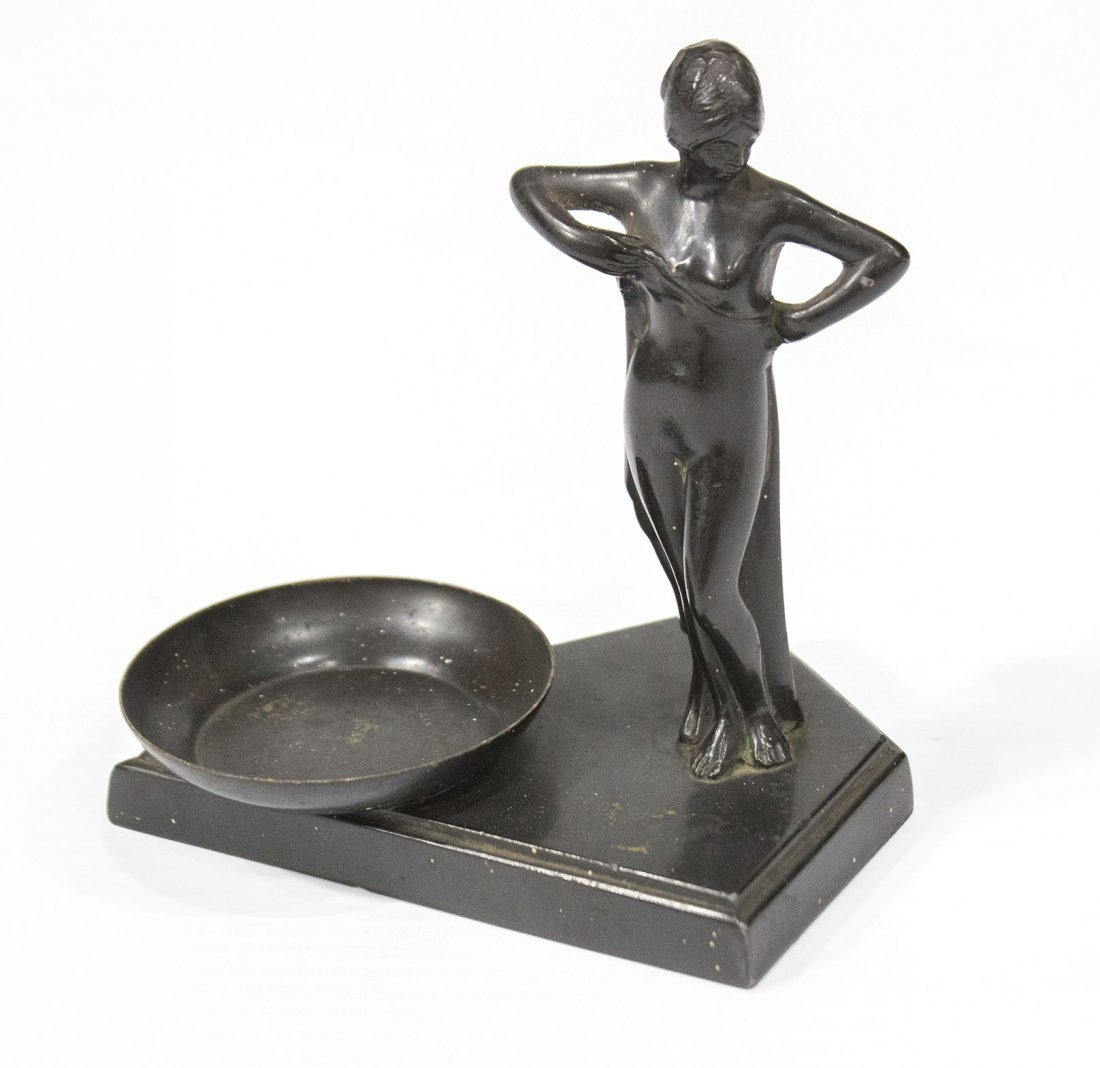ART DECO METAL NUDE GIRL NEXT TO ART GLASS BALL - 3