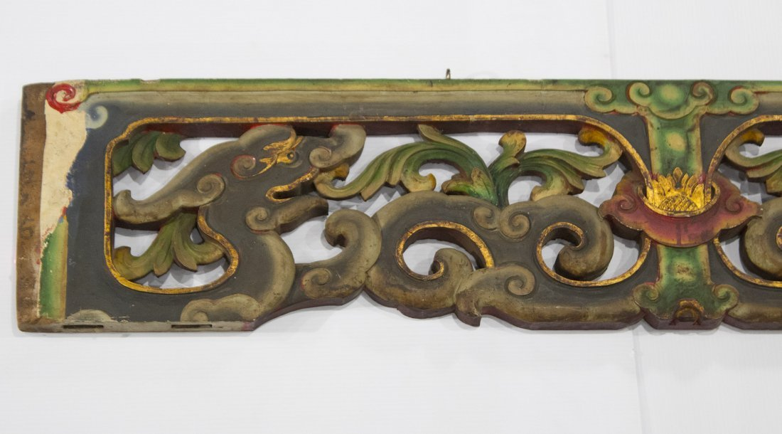 Carved Wood ORIENTAL TEMPLE DOORWAY PANEL VALANCE - 2