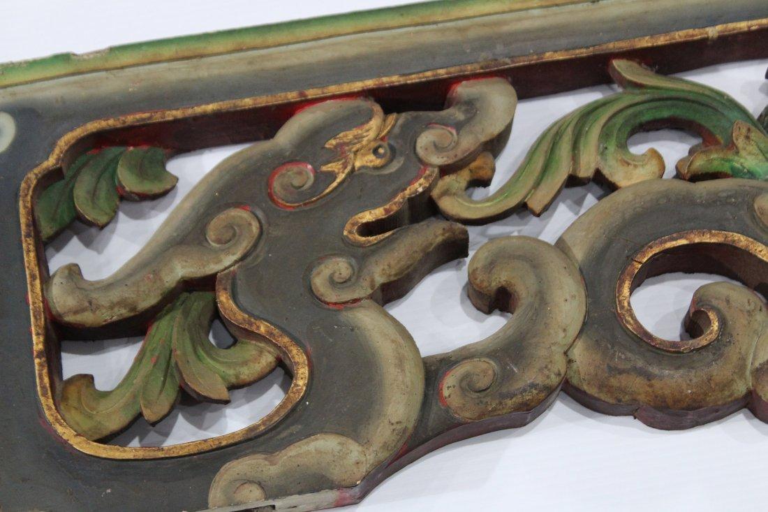 Carved Wood ORIENTAL TEMPLE DOORWAY PANEL VALANCE - 3