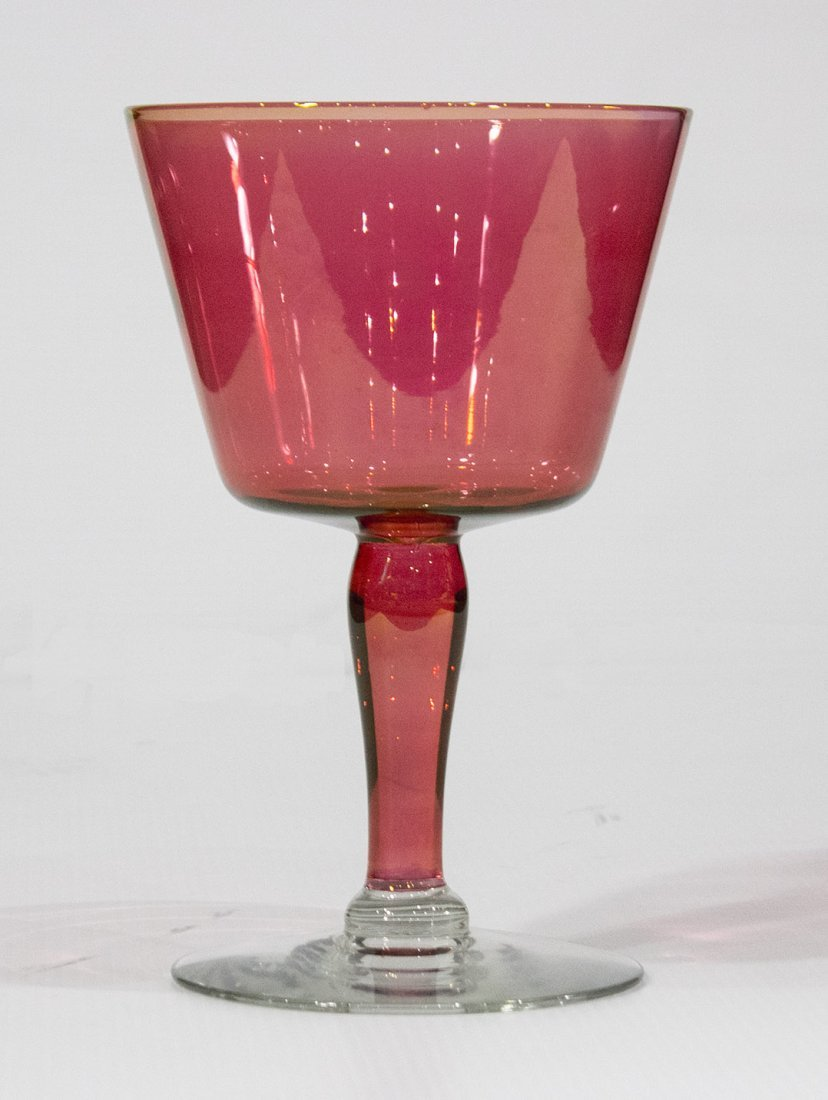 Large CRANBERRY GLASS CHALICE cranberry with clear base