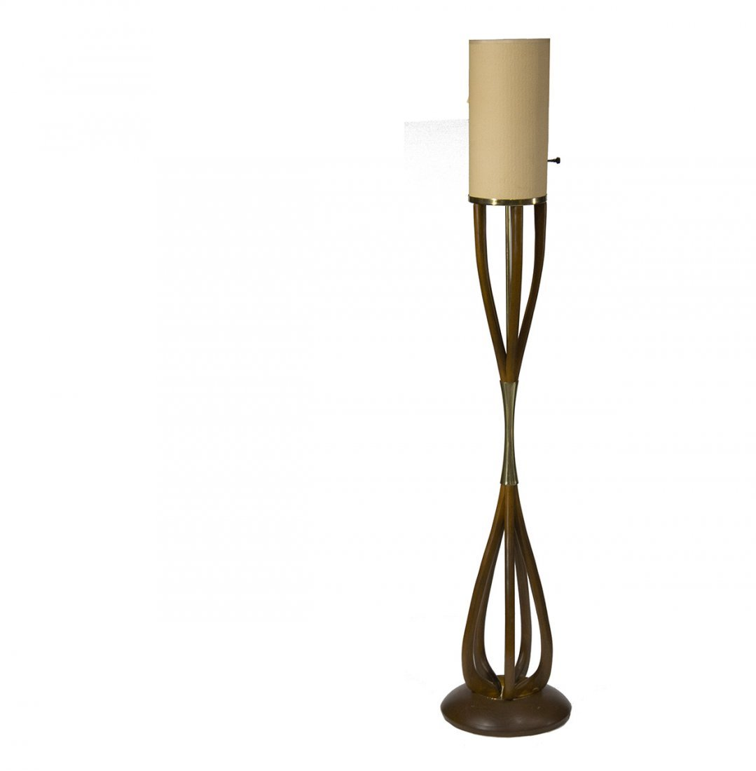 PEARSALL STYLE Mid Century Modern Teak Wood Floor Lamp