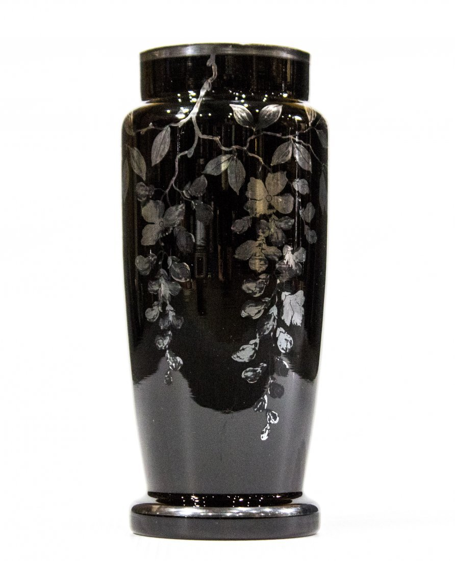 Czechoslovakian Black Glass Vase With Sterling Overlay