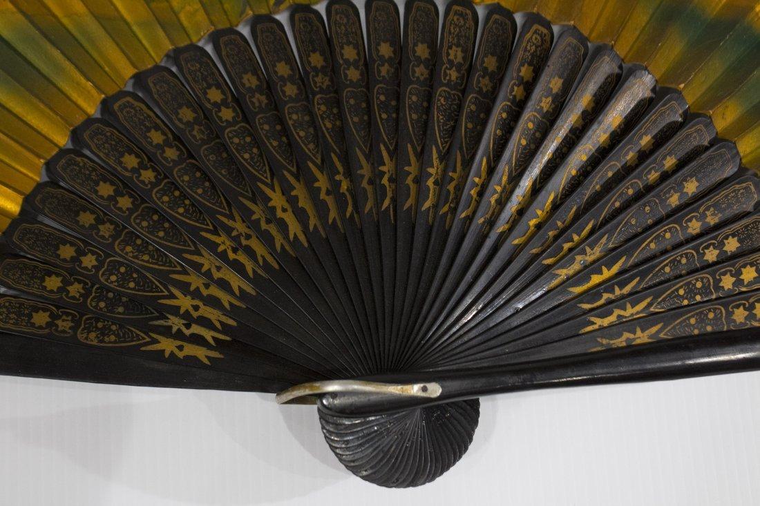 Large ORIENTAL ASIAN HAND FAN Gold Gilt Scenic Design - 2
