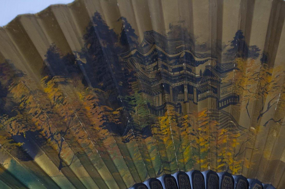 Large ORIENTAL ASIAN HAND FAN Gold Gilt Scenic Design - 3
