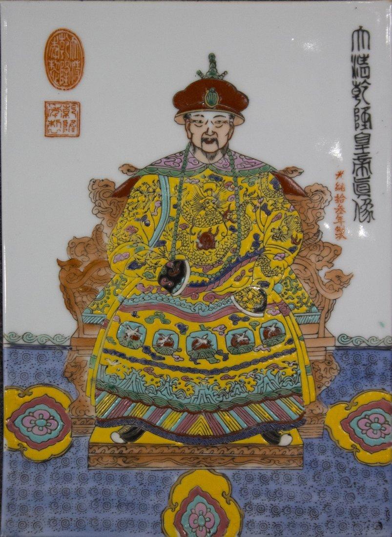 Oriental Buddha Hand Painted Porcelain Tile