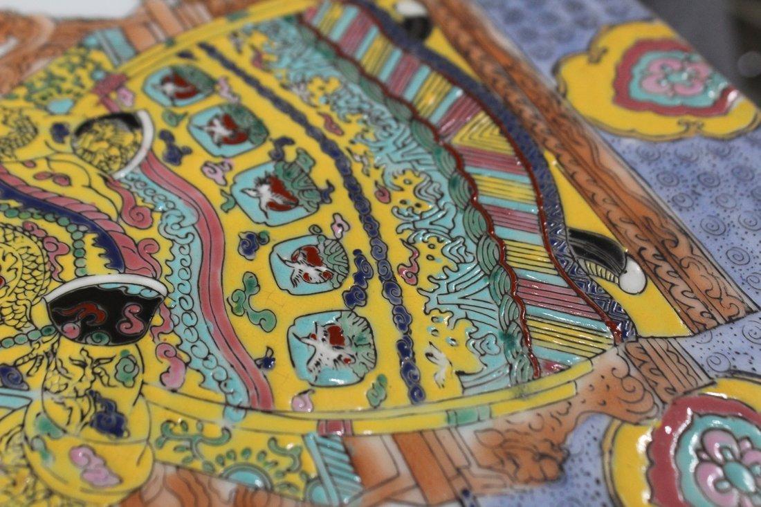 Oriental Buddha Hand Painted Porcelain Tile - 3