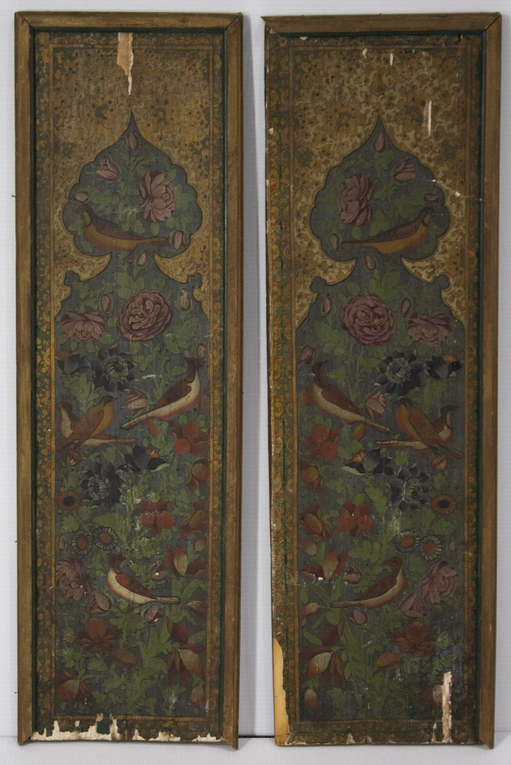 Pair ANTIQUE WOOD PANELS WITH HAND PAINTED BIRDS