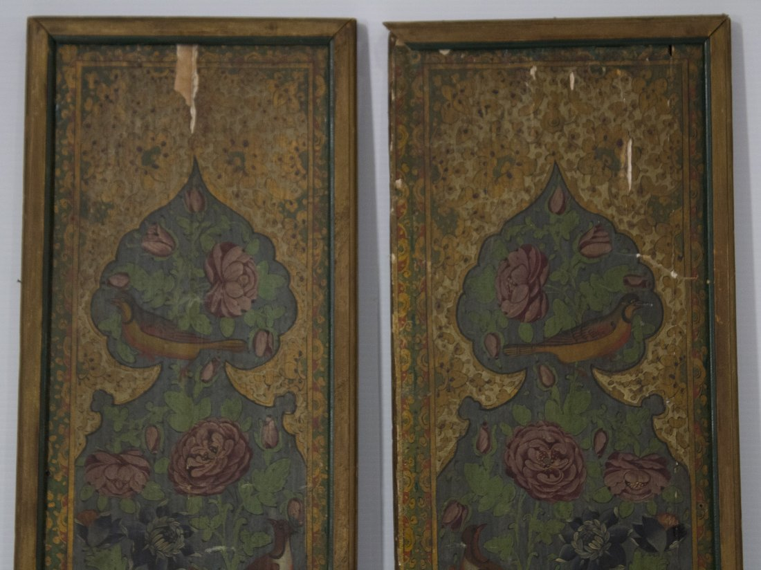 Pair ANTIQUE WOOD PANELS WITH HAND PAINTED BIRDS - 2