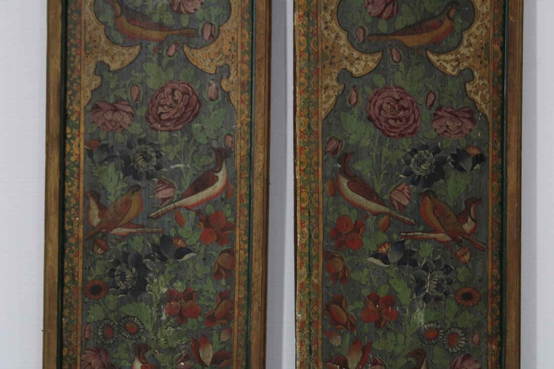 Pair ANTIQUE WOOD PANELS WITH HAND PAINTED BIRDS - 3