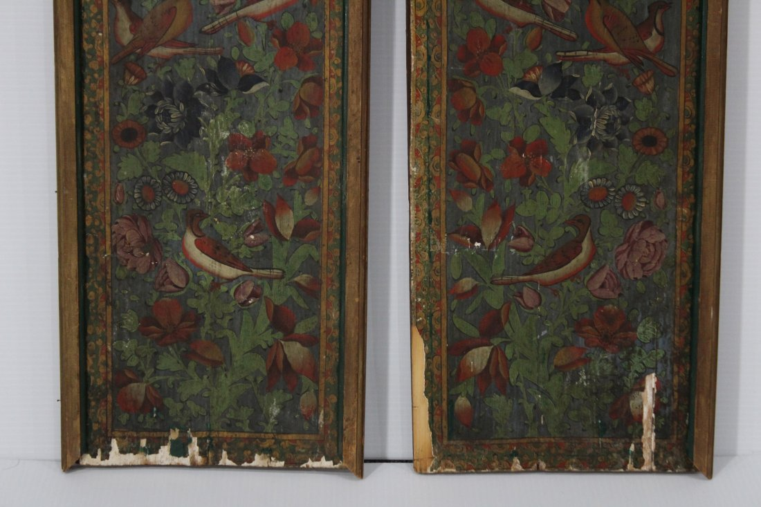 Pair ANTIQUE WOOD PANELS WITH HAND PAINTED BIRDS - 4