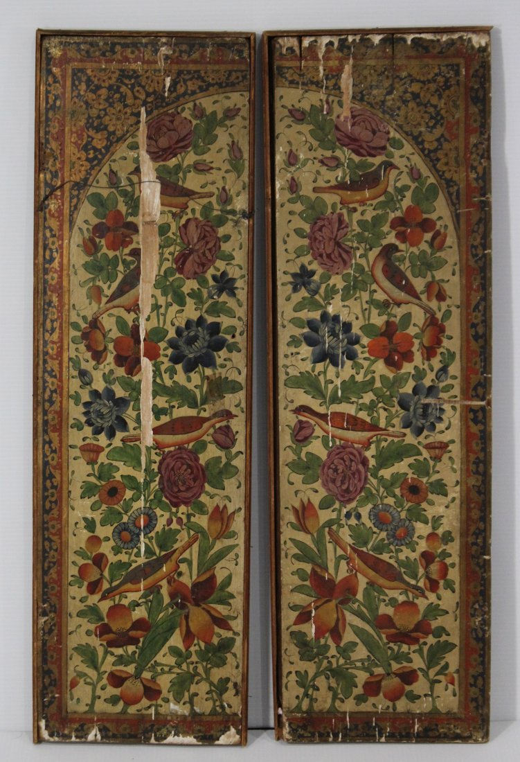Pair ANTIQUE WOOD PANELS WITH HAND PAINTED BIRDS - 5