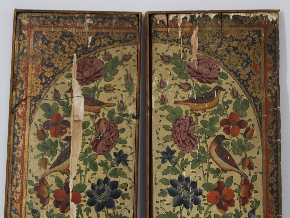 Pair ANTIQUE WOOD PANELS WITH HAND PAINTED BIRDS - 6