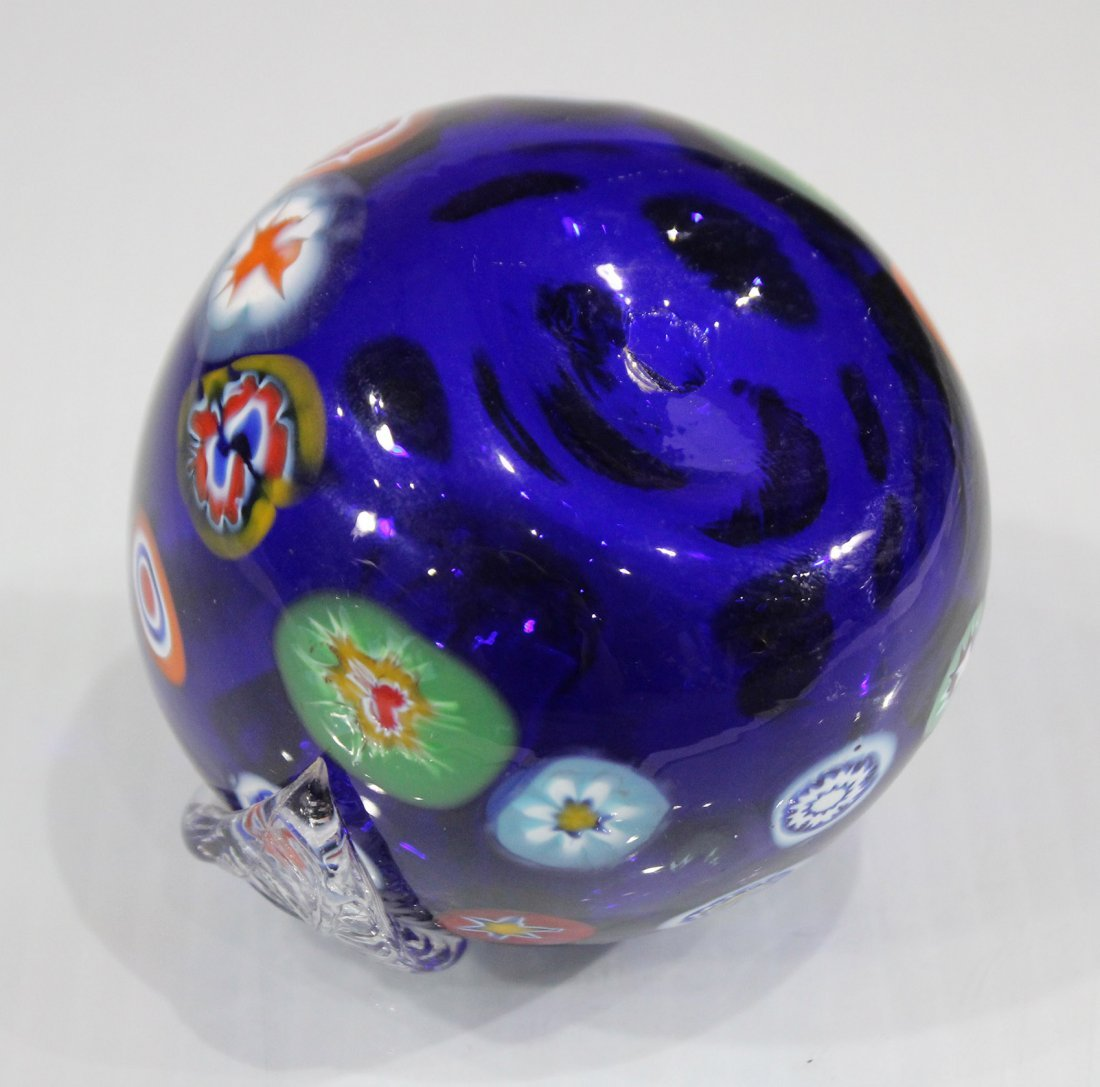 MILIFIORE MURANO GLASS APPLE PAPERWEIGHT BLUE - 4