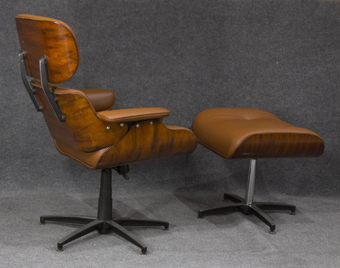 HERMAN MILLER EAMES STYLE ADJUSTABLE CHAIR AND OTTOMAN