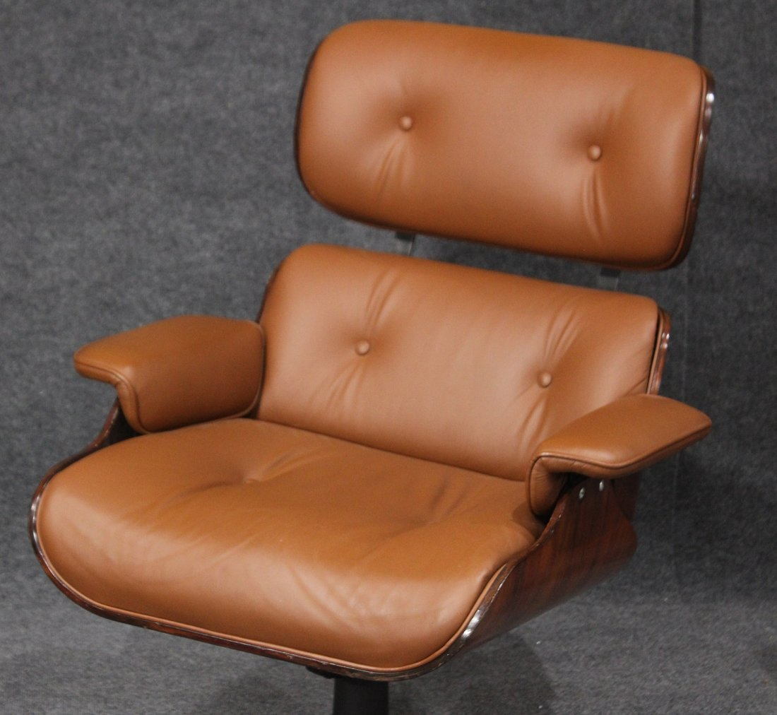 HERMAN MILLER EAMES STYLE ADJUSTABLE CHAIR AND OTTOMAN - 3