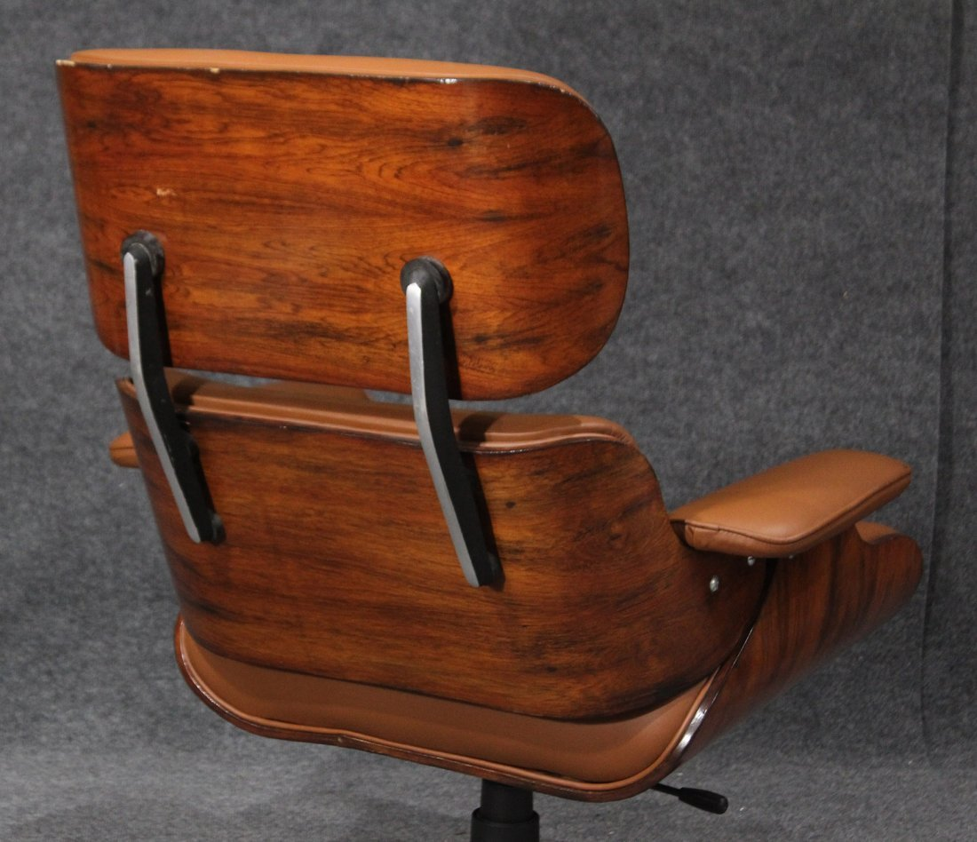 HERMAN MILLER EAMES STYLE ADJUSTABLE CHAIR AND OTTOMAN - 4