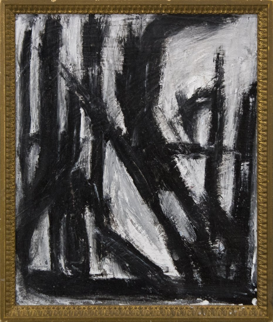 FRANZ KLINE attributed Mid Century Modern Abstract Oil.