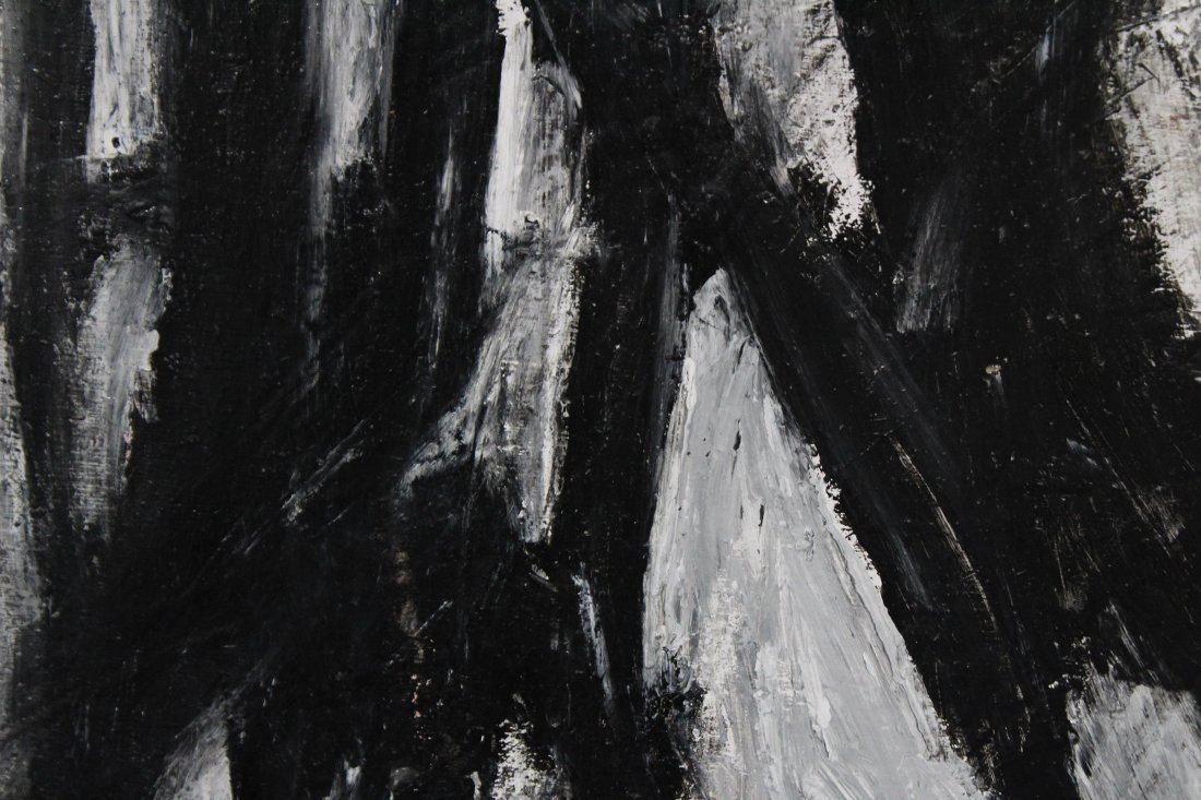 FRANZ KLINE attributed Mid Century Modern Abstract Oil. - 3