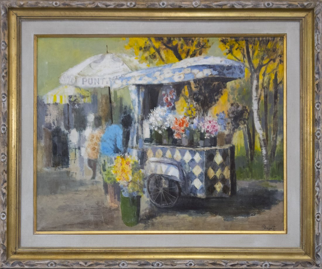 TOYOTA 70 Oil/c Fine Impressionism FLOWER VENDOR Signed