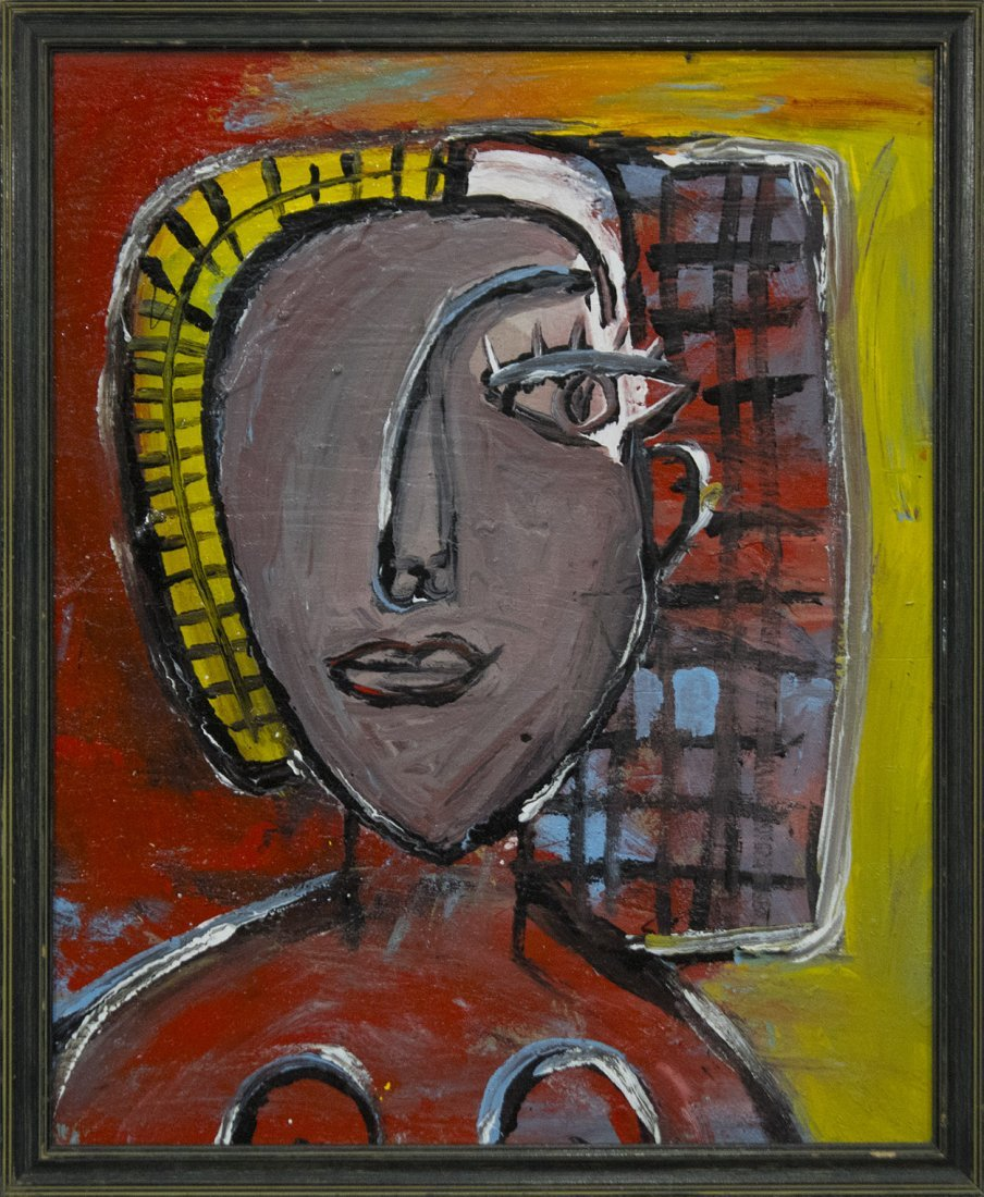 MID CENTURY MODERN PORTRAIT PAINTING ABSTRACT WOMAN