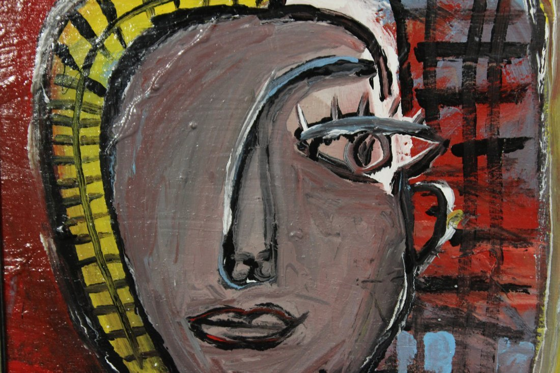 MID CENTURY MODERN PORTRAIT PAINTING ABSTRACT WOMAN - 2
