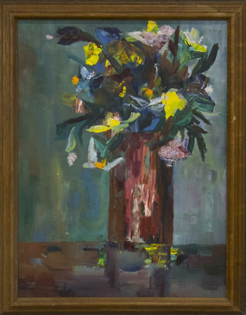 IMPRESSIONIST FLOWERS IN VASE OIL/B QUALITY PAINTING
