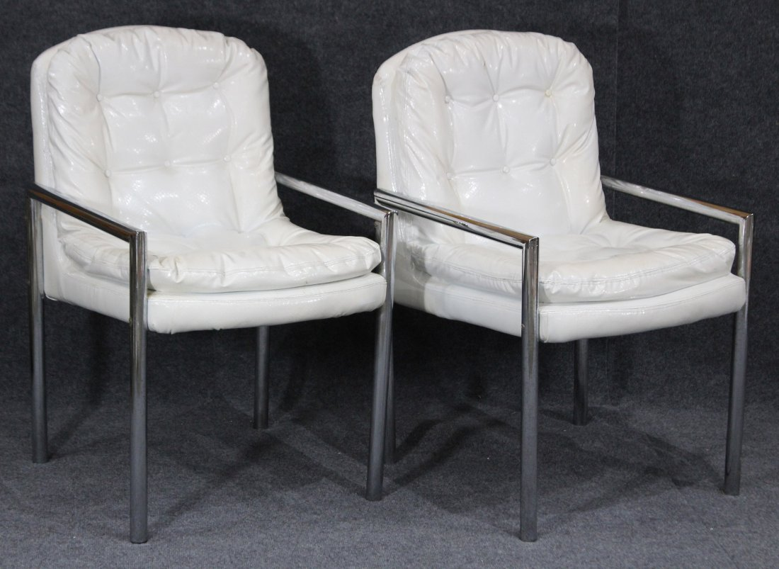 Pair MID CENTURY WHITE VINYL TUBULAR CHROME ARM CHAIRS