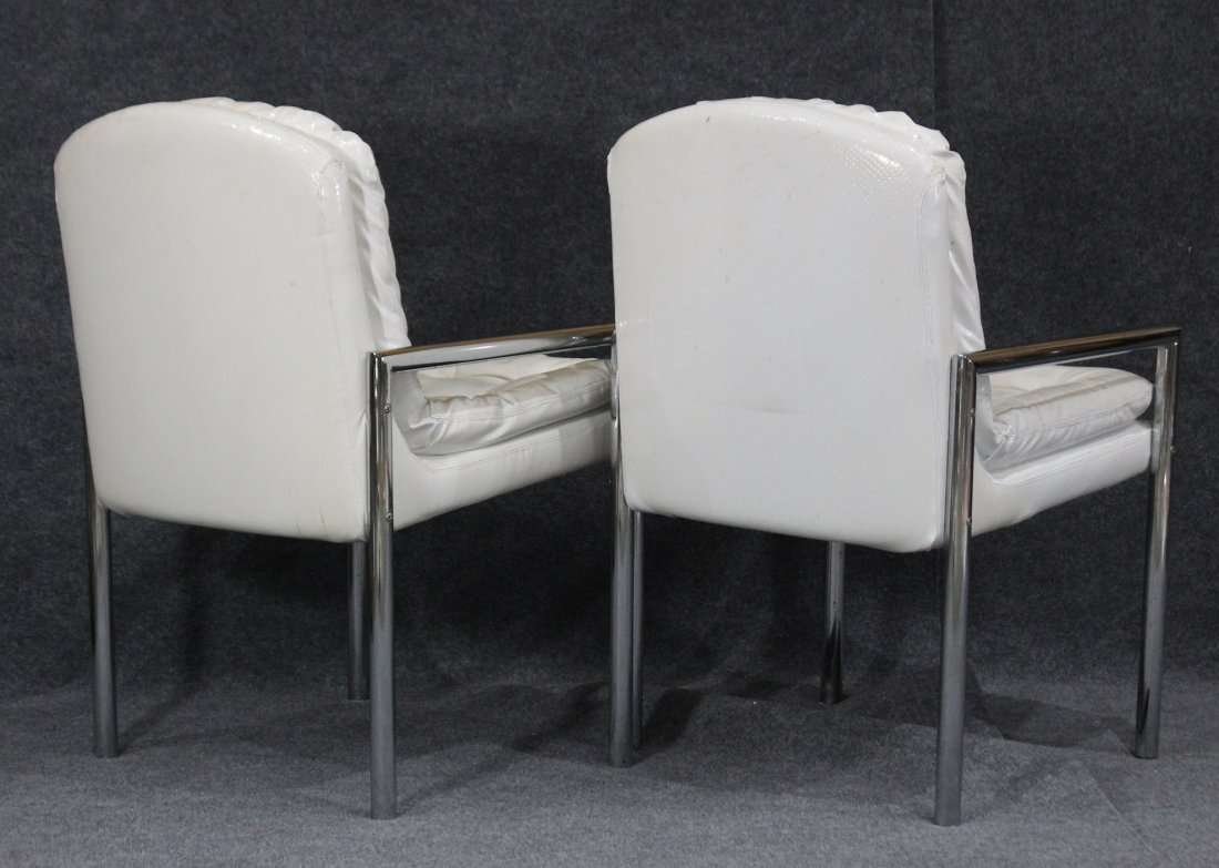 Pair MID CENTURY WHITE VINYL TUBULAR CHROME ARM CHAIRS - 4