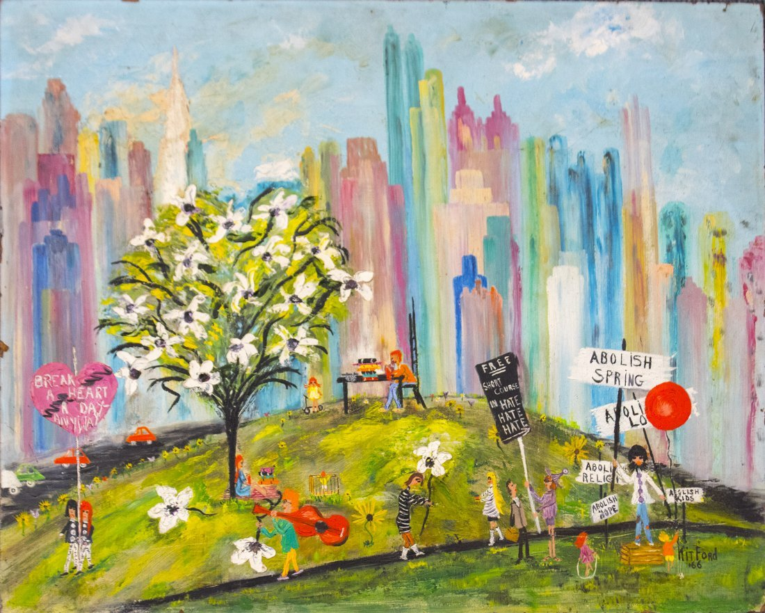 OIL PAINTING NEW YORK CITY PROTEST IN CENTRAL PARK