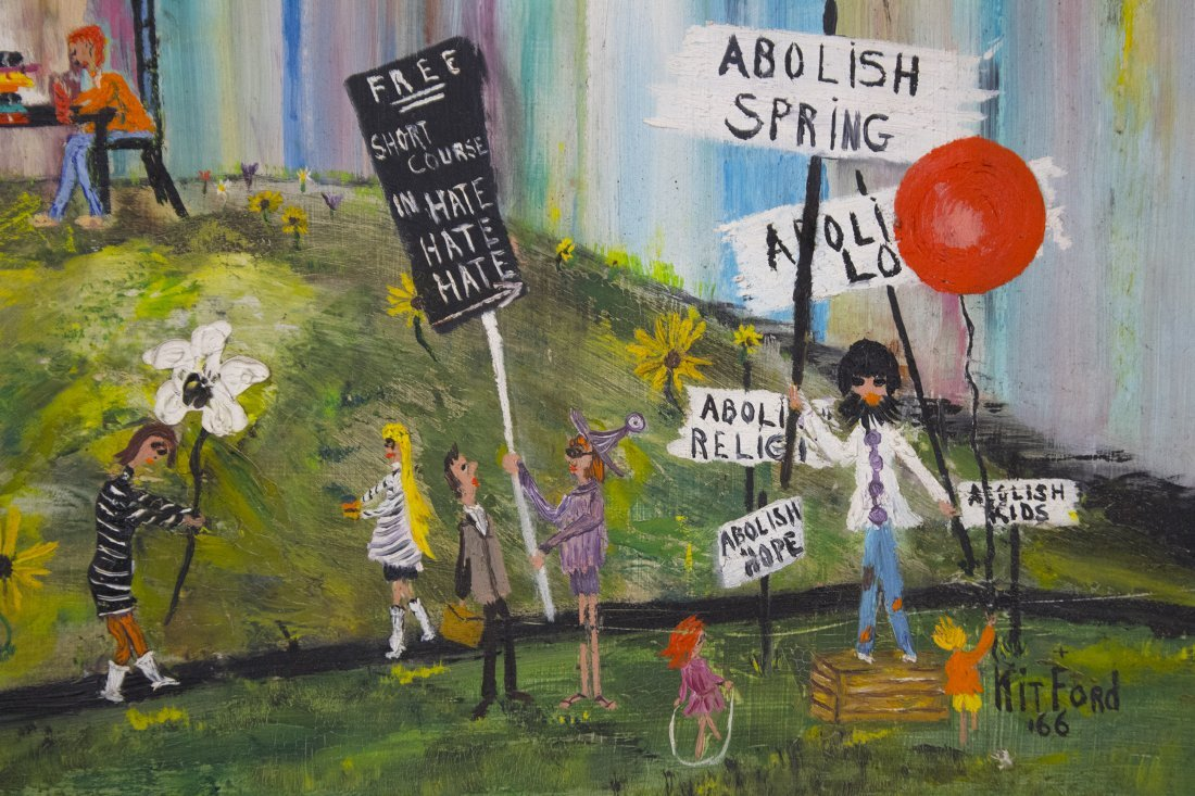 OIL PAINTING NEW YORK CITY PROTEST IN CENTRAL PARK - 2
