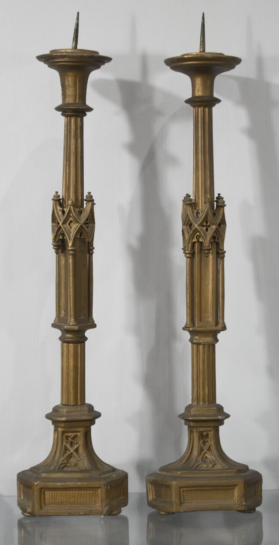 Pair AMERICAN GOTHIC REVIVAL CARVED WOOD CANDLE HOLDERS