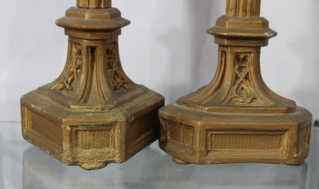 Pair AMERICAN GOTHIC REVIVAL CARVED WOOD CANDLE HOLDERS - 3