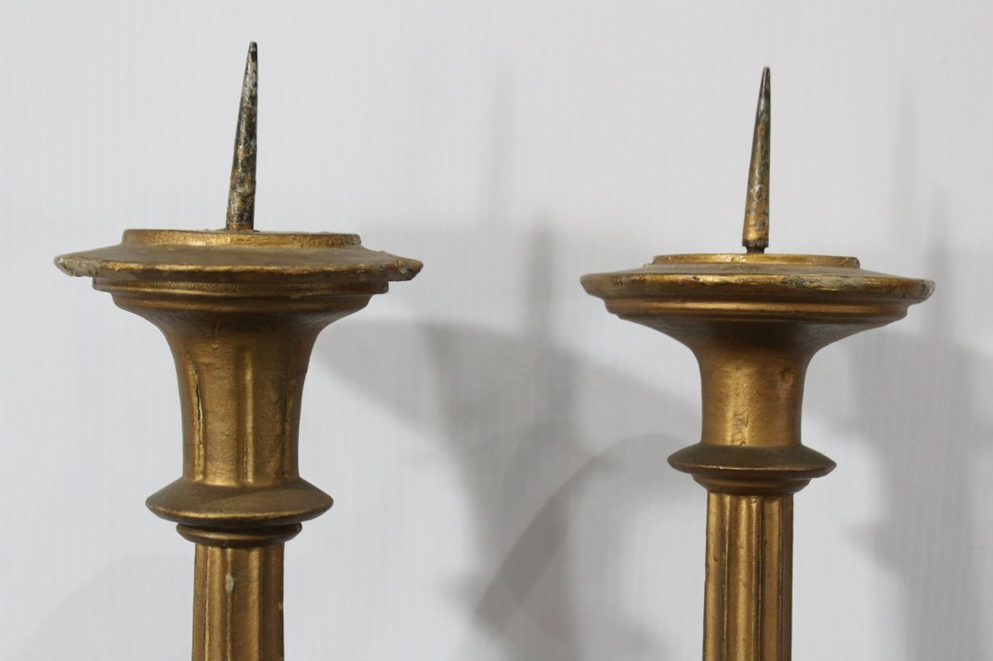 Pair AMERICAN GOTHIC REVIVAL CARVED WOOD CANDLE HOLDERS - 5