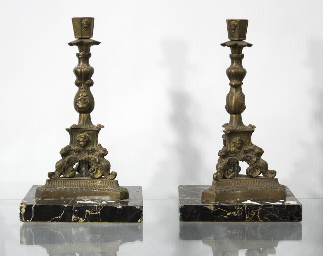 Pr Circa 1870 Victorian Renaissance Bronze Candlesticks