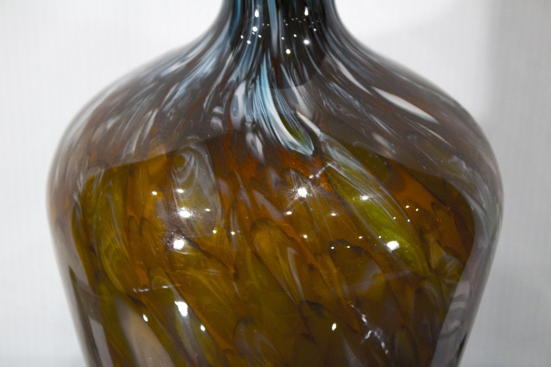 SUPERB QUALITY ITALIAN ART GLASS BOTTLE POLISHED PONTIL - 2
