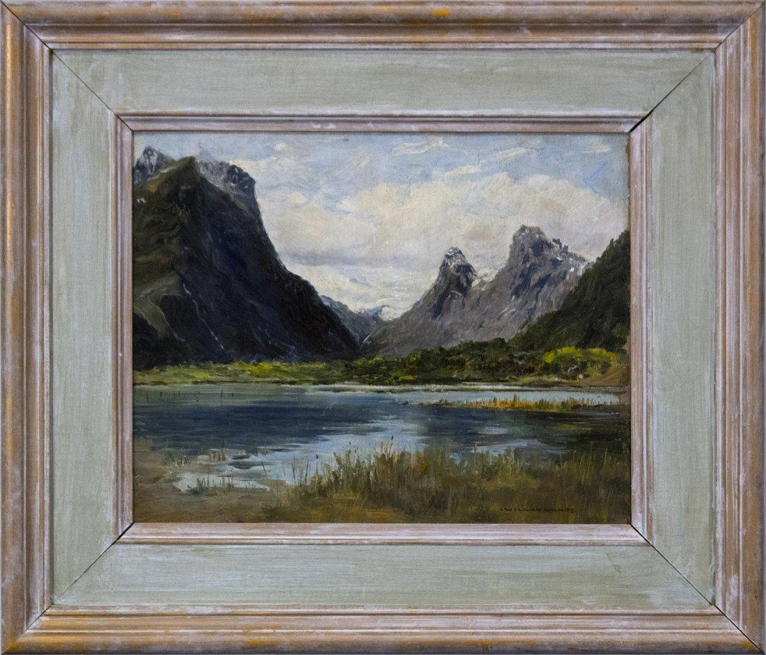 WILLIAM WENDT 1865-1946, OIL/b MOUNTAINS LAKE LANDSCAPE