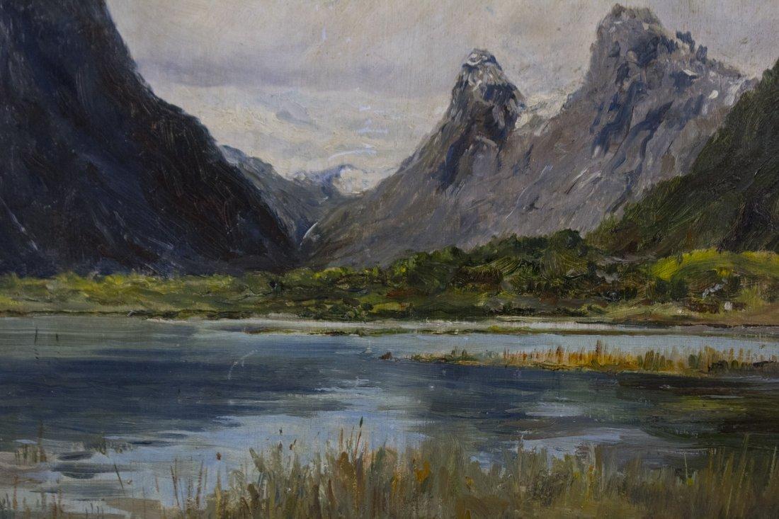 WILLIAM WENDT 1865-1946, OIL/b MOUNTAINS LAKE LANDSCAPE - 3