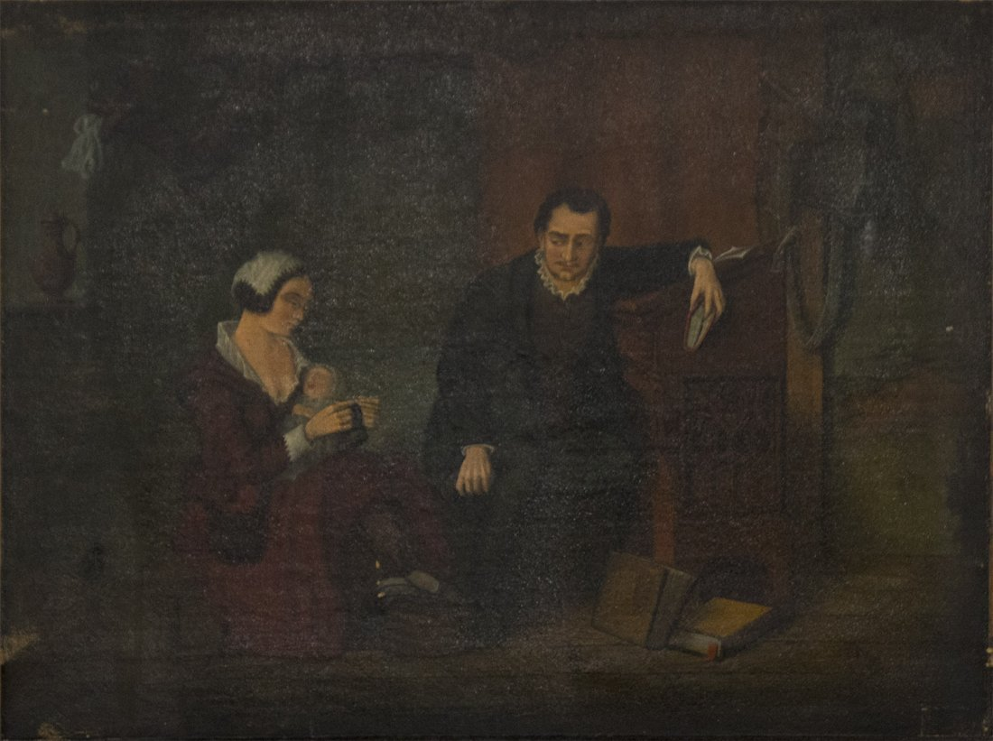 Early 1800's Oil/c INTERIOR WITH GENT MOTHER AND INFANT