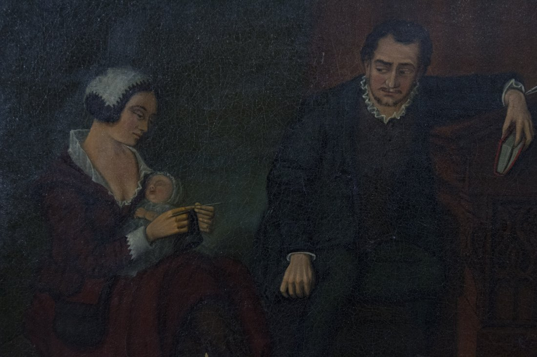 Early 1800's Oil/c INTERIOR WITH GENT MOTHER AND INFANT - 2