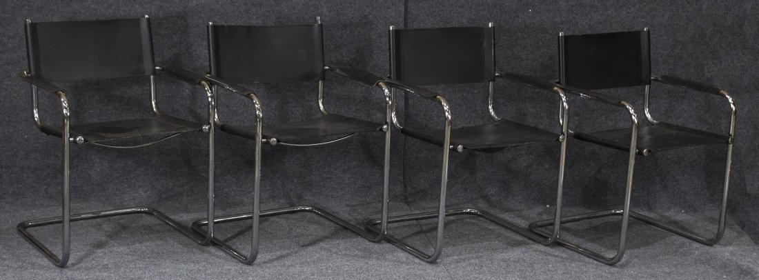 MARCEL BREUER Set Four BLACK LEATHER AND CHROME CHAIRS