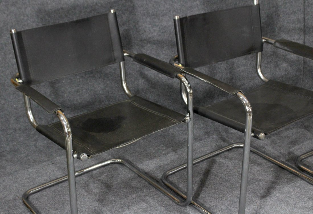 MARCEL BREUER Set Four BLACK LEATHER AND CHROME CHAIRS - 2