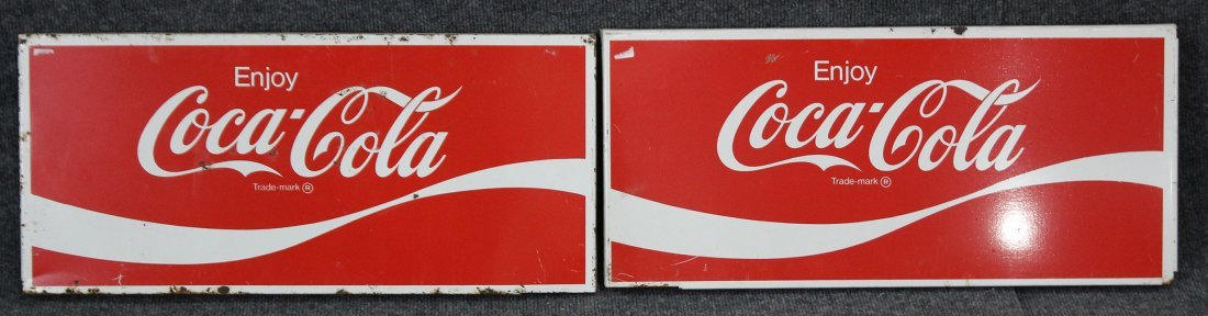 FOUR [4] Vintage ENJOY COCA COLA Tin Signs