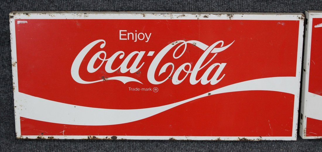 FOUR [4] Vintage ENJOY COCA COLA Tin Signs - 2