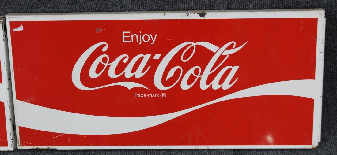 FOUR [4] Vintage ENJOY COCA COLA Tin Signs - 3