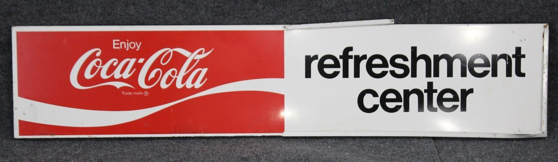 Vintage ENJOY COCA COLA REFRESHMENT CENTER Tin Sign