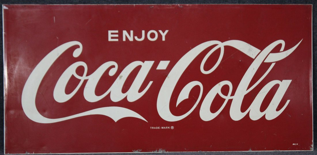 VINTAGE Large Tin COCA COLA Sign In Great Shape