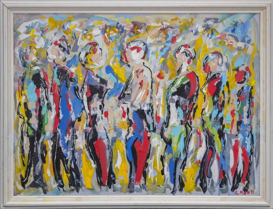 R. MONTI, Mid Century Oil/c Crowd Of People In Abstract